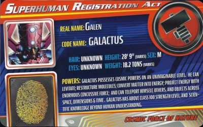 Masterworks Galactus Superhuman Registration Act Card Front