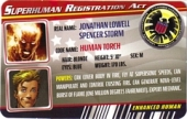 Human Torch - Superhuman Registration Act Card Front