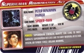 Spider-Man Black Costume - Superhuman Registration Act Card Front