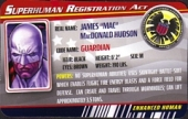 Guardian - Superhuman Registration Act Card Front